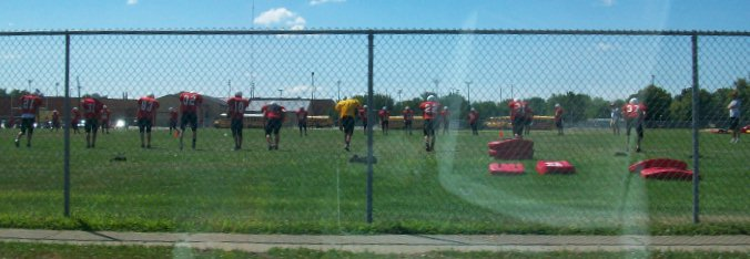 Cardinals at practice field, Coldwater High School